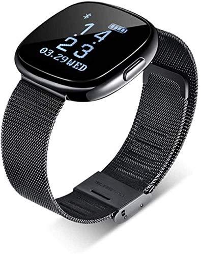 ZHENAO Smart Watch Cinturón de Acero Pulsera Inteligente Reloj Bluetooth Ratón Cardíaco Presión Arterial Ejercicio Paso Impermeable-Plata Gris Exclusivo/Negro