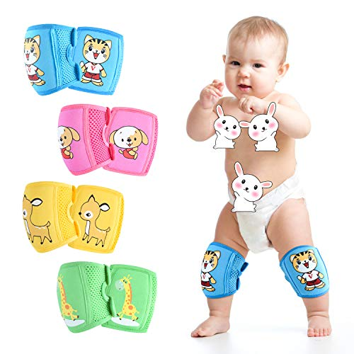 ZukoCert Adjustable Baby/Toddler Knee Pads(4 pieces) Crawling Knee Pads (Unisex) Breathable Non-slip Kids Knee Pads (A)