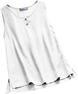 DADKA Womens Shirts Fashion O-neck Button Pure Color Plus Size Vintage Sleeveless Vest Tops Blouse