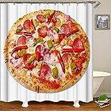 JKCKHA. 3D-Effekt Wasser Pizza Cube Mildew Proof Wasser Duschvorhang Polyester-Gewebe Badezimmer mit Haken for Hauptdekor, 180x180cm