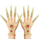 TIMESETL Halloween Fingernagel Orientalische Handkette mit Fingernägeln, Frauen Zigeuner Ägyptische Handkette Fingernägeln, Bauchtänzerin Handschmuck Indische Gold...