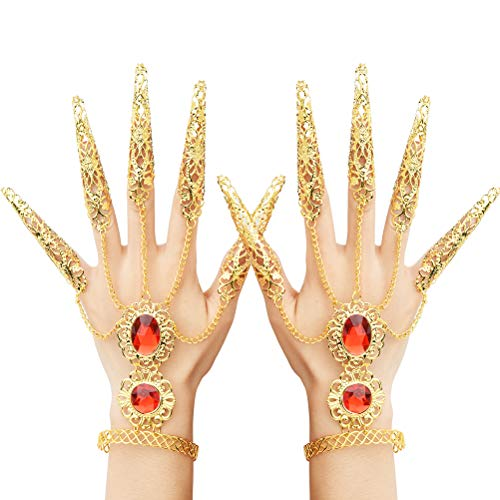 TIMESETL Halloween Fingernagel Orientalische Handkette mit Fingernägeln, Frauen Zigeuner Ägyptische Handkette Fingernägeln, Bauchtänzerin Handschmuck Indische Gold Handkette Fingernägeln für Kostüme
