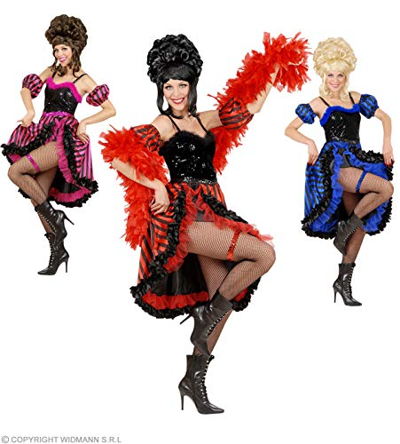 Widmann CAN CAN GIRL COSTUME (M) - 3cols (dress sleevelettes garter)