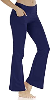 KISSOURBABY Women's Yoga Pants High Waist Tummy Control Long Bootleg Flare Pants with 4 Pockets Work Pants for Women
