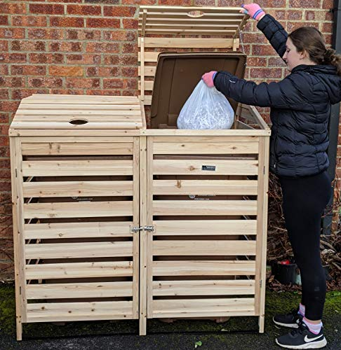 BinGarden Double Wooden Slatted Wheelie Bin Store with Bi-Fold Roof. Garbage Cover Trash Storage Shed Tidy Outdoor Hideaway for up to 240L bins / 65G cans. Hide Dustbin Bin Garden, Natural Colour