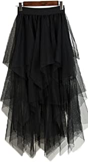 OnlyBridal Women's Tulle Skirt Formal High Low Asymmetrical Midi Tea-Length Elastic Waist Skirt
