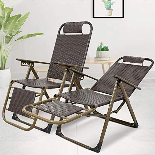 YVX Sillas de jardín Sillas reclinables Sillas de Mimbre marrón Silla Plegable reclinable de ratán Resistente a la Intemperie para Patio, Playa, balcón, Parque o Camping c2012 (Color: Park 2)