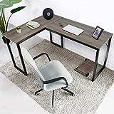 Amzdeal Mesa Escritorio Esquinero, Escritorio en L Mesa de Ordenador, mesa de escritorio para computadora, escritorio de esquina para computadora,143x11x75 cm (nogal marrón)