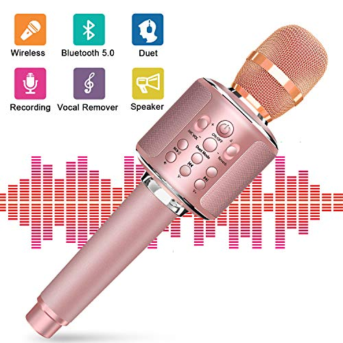 Bluetooth Karaoke Microphone, Wireless Portable Handheld Karaoke Mic Speaker Machine with Duet Vocal Remover Function Home Party for Android iOS All Smartphone(Rose Gold)