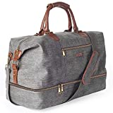 MyMealivos Canvas Weekender Bag, Overnight Travel Carry On Duffel Tote with Shoe Pouch (Grey)