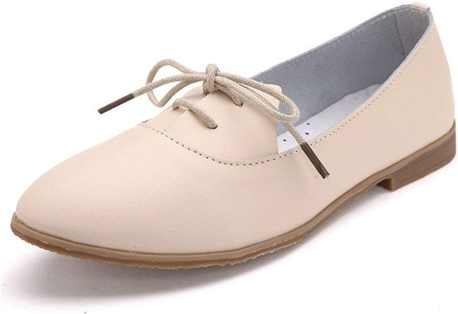 Pointed Toe Ballet Flats for Women Lace Up Slip On Moccasins Casual Walking shoes Apricot