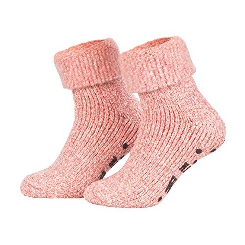 Piarini ABS Stoppersocken Wollsocken Wintersocken Norwegersocken Innenfrottee Damen Herren Jungen Mädchen pink rosa-meliert 35-38