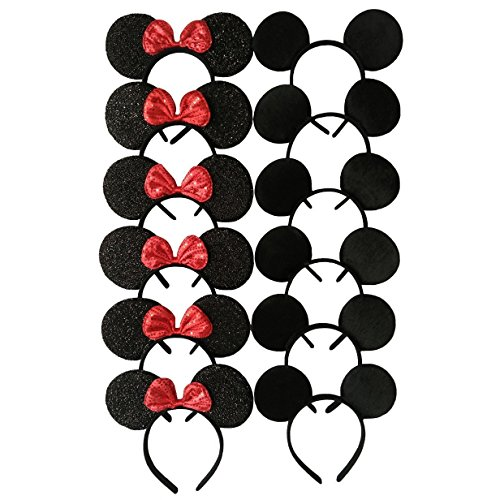 CHuangQi Mouse Ears Headband Pack of 12 for Boys and Girls Birthday Party or Celebrations, Solid Black and Red Bow