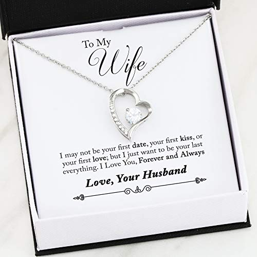 Faith Davis Forever Love Necklace - Gift for Wife from Husband - Romantic Anniversary Gift for Her, Birthday Gift for Wife, Meaningful Gift for Best Wife with Love Heart Necklace Jewelry for Women