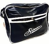 Umhängetasche von Simson - Retro Tasche mit Reißverschluss und Schultergurt - Blau - Weiß