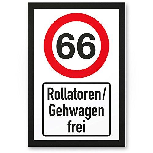 DankeDir! 66 Jahre Rollatoren Gehwagen frei Kunststoff Schild - Geschenk 66. Geburtstag Geschenkidee Geburtstagsgeschenk Sechzigsten Geburtstagsdeko Partydeko Party Zubehör Geburtstagskarte