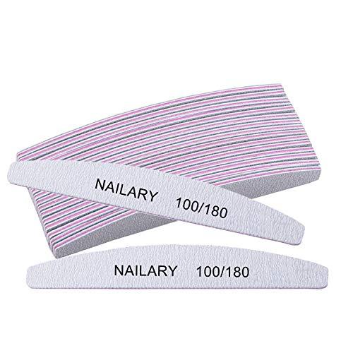 10Pcs Nail Files for Acrylic Nails, 100/180 Grit Acrylic Nail File, Emery Boards for Natural Nails, Professional Nail Filer for Home DIY and Salon Use