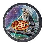 EZIOLY Lustige Möbelknöpfe, Katzen- und Pizza-Knöpfe, dekorative Knöpfe, Schrank, Schubladen, Kommode, Zuggriff, 4 Stück