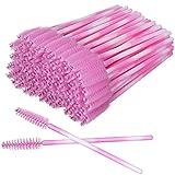 Akstore 100 Pack Multicolor Disposable Eyelash Mascara Brushes Eyelash Brush Wands Applicator Makeup Brush Tool Kits (Pink)