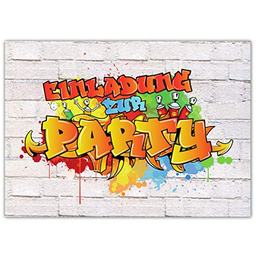 Pandawal 12x Einladungskarten Kindergeburtstag Graffiti Style für Junge und Mädchen perfekt für Kinderparty Geburtstag Poolparty