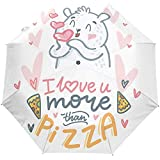 Cute Bear Love Pizza Auto Open Umbrella Sun Rain Umbrella Anti UV Folding...
