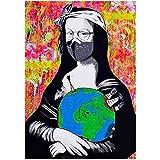 Xynfl Maquillaje Mona Lisa Carteles E Impresiones Lienzo Divertido Pintura Famosa En El Arte De La Pared Imagen De Retrato Colorido para La Decoración De La Sala De Estar -60X80Cmx1 Sin Marco