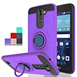 Wtiaw Compatible with LG K7 Case,LG Tribute 5 Case,LG Treasure LTE Case,LG K8 Case(2016),LG Escape 3 Case,LG Phoenix 2 Case,360 Degree Rotating Ring Kickstand Case for LG K7-CH Purple