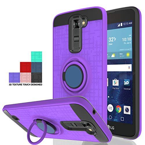 Wtiaw:LG K7 Case,LG Tribute 5 Case,LG Treasure LTE Case,LG K8 Case(2016),LG Escape 3 Case,LG Phoenix 2 Case,LG LS675 /MS330 / K373 Case,360 Degree Rotating Ring Kickstand Case for LG K7-CH Purple