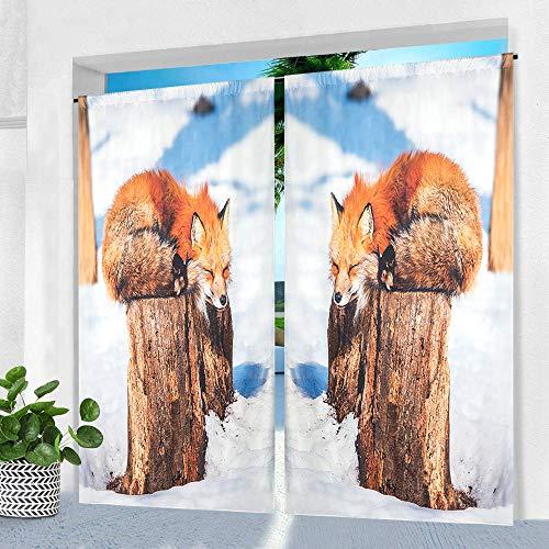 Pro Space Outdoor-Vorhänge für Terrasse, 127 x 213,4 cm, Fuchs im Schnee, bedruckt, wasserdicht, für Pergola, Veranda oder Balkon, 1 Panel