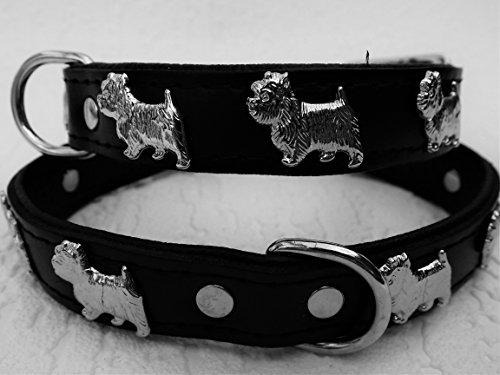 Lusy011 *Westie* Hunde Halsband, Leder, Halsumfang 28-32cm, Schwarz, NEU(PL.24-5-3-12)
