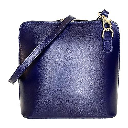 ALEXANDER MILANO Girly Handbags Cuero de la piel de genuina VERA PELLE Cruz cuerpo rígido (Marino)