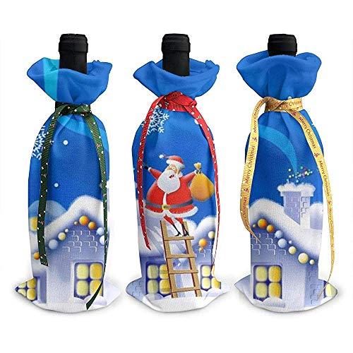 BUXI Printing Wine Bottle Bag,Santa Claus Schornstein Geschenk Geschenk Rotweinflasche Taschen Für Freunde Der Familie Zu Hause 12x34cm