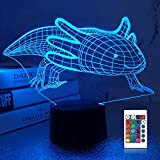 Lampeez 3D Axolotl Lamp Night Light Mexican Salamander Fish 3D Illusion lamp for Kids, 16 Colors Changing with Remote, Kids Bedroom Decor as Xmas Holiday Birthday Gifts for Boys Girls