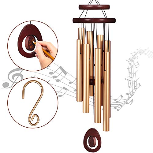 Homemaxs Wind Chimes for Outside Large Deep Tone 38 Inch Large Memorial Wind Chimes with 8 Tubes amp Rotatable DIY Pendants Best Gift Wind Chimes for Outside Garden Patio DecorRose Gold