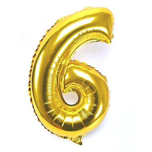 Souarts Ballon Gonflable Forme Chiffre 6 pour Anniversaire Fete Mariage Enfant Couleur Dore 44cmx29cm 1PC