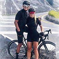 トライアスロンスーツの女性の夏の半袖サイクリングジャージースキンシュージャンプスーツ通気性サイクリング衣料品ゲルパッド 40 (Color : Army Green, Size : 4X-Large)