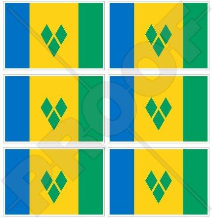 Saint Vincent-et Grenadine Flagge kleine Antillen, 40 mm, Vinyl-Aufkleber, 6 Stück