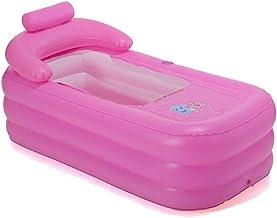 Aohuada - Bañera portátil para ducha, 160 cm, piscina hinchable para adultos, piscina de viaje para ducha, color rosa