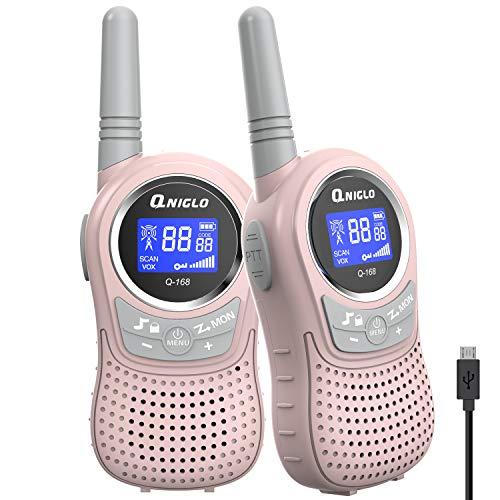 QNIGLO Q168Plus+Macaron Talkie Walkie Enfants Rechargeable USB,Communication Bidirectionnelle à 8...
