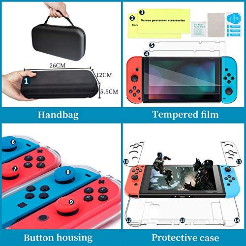 Th-some Kit de Accesorios 14 en 1 para Nintendo Switch, Funda Protectora para Interruptor Nintendo, Cubierta Transparente para Interruptor, Protector de Pantalla, Tapas Empuñadura de Pulgar