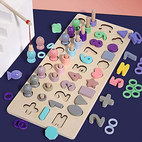 Yjdr Kinder Digitale Building Block Puzzle pädagogisches Spielzeug 3-6 Jungen und Mädchen Baby 1-2 Jahre alt Multifunktionale Holz Early Education Toy 10 Arten, Form Building Blocks, Farbkreis, Angeln