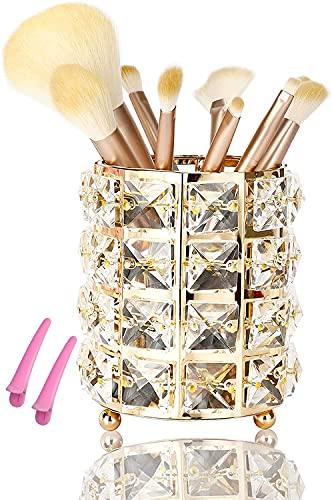DARUITE Pinselhalter Gold, Kristall Deko Make Up Pinsel Organizer Schmink Aufbewahrung Halter Schminktisch Zubehör