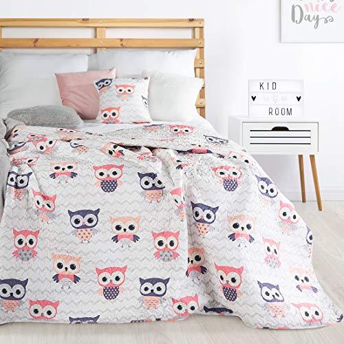 Schöne Tagesdecke, Bunte Decke, für Kinder, Muster Eule, Größe: 170X210 cm, Für: Mädchen und Jungen, zur Wahl, Farbe, Rosa, Blau. (Rosa)