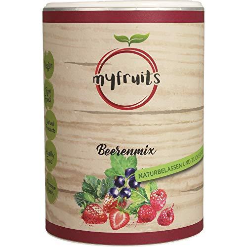 myfruits® Beerenmix - Mischung aus gefriergetrockneten Früchten - Ohne Zucker - Erdbeerscheiben, Himbeeren, schwarze Johannisbeeren 100g
