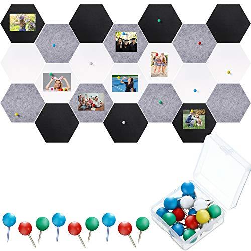 21 Pieces Pin Board Hexagon Felt Board Tiles Bulletin Board Memo Board Notice Board with 40 Pieces Push Pins for Home Office Classroom Wall Decor 5.9 x 7 Inches/ 15 x 17.7 cm (Black, White, Grey)