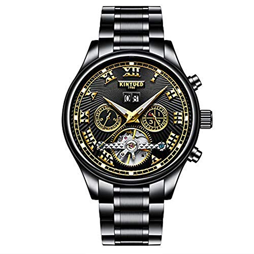 Swiss Tourbillon Automatic MechanicaCalendar Waterproof Watches for Men LeatherBand (Black)