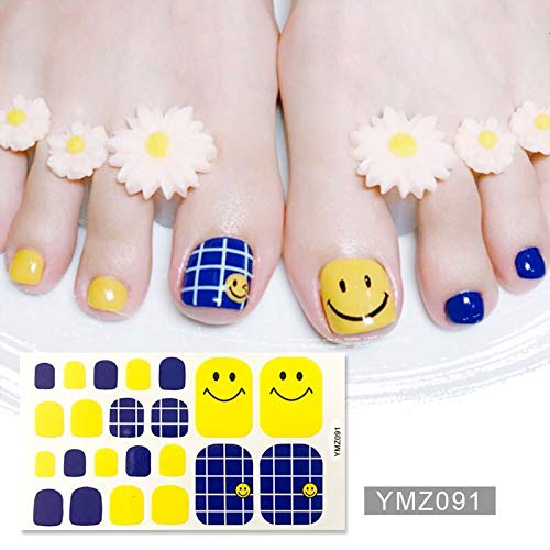 JSZWGC Recuerdame Nouveau Toenail Autocollants Nail Polish Wraps Toe Shinny Autocollants Argent Massif Toenail Bandes manucure for Fille (Color : YMZ091)