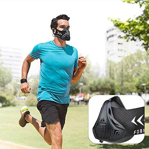 FDBRO Trainingsmaske Workout Maske- - High-Altitude-Endurance-Maske erhöht die Kraft, Laufwiderstand Atemmaske mit Tragetasche (Kohlefaser, S)