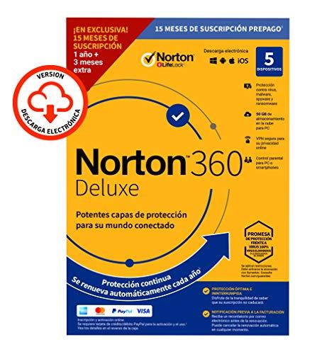 Norton 360 Deluxe 2020 - Antivirus software para 5 Dispositivos y 15 meses de suscripción con renovación automática, Secure VPN y Gestor de contraseñas, para PC, Mac tableta y smartphone