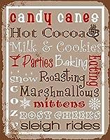 簡素な雑貨屋 Candy Canes Hot Cocoa アメリカン 雑貨 ナンバープレート ヴィンテージ風 ライセンスプレート メタルプレート ブリキ 看板 アンティーク レトロ